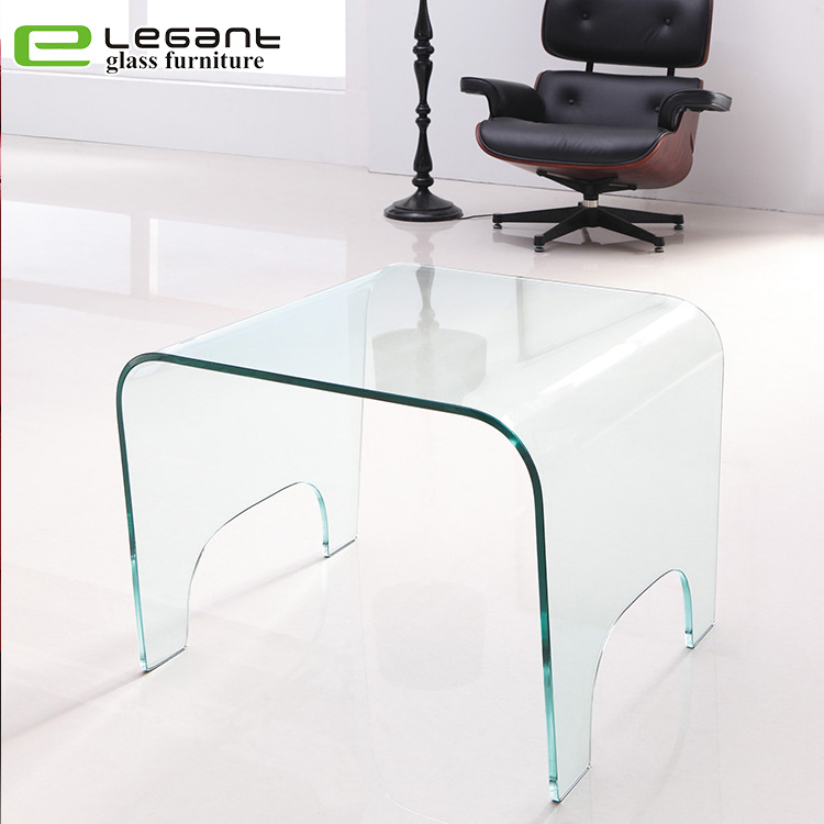 China Home Furniture Curved Glass Coffee Side Table China Coffee