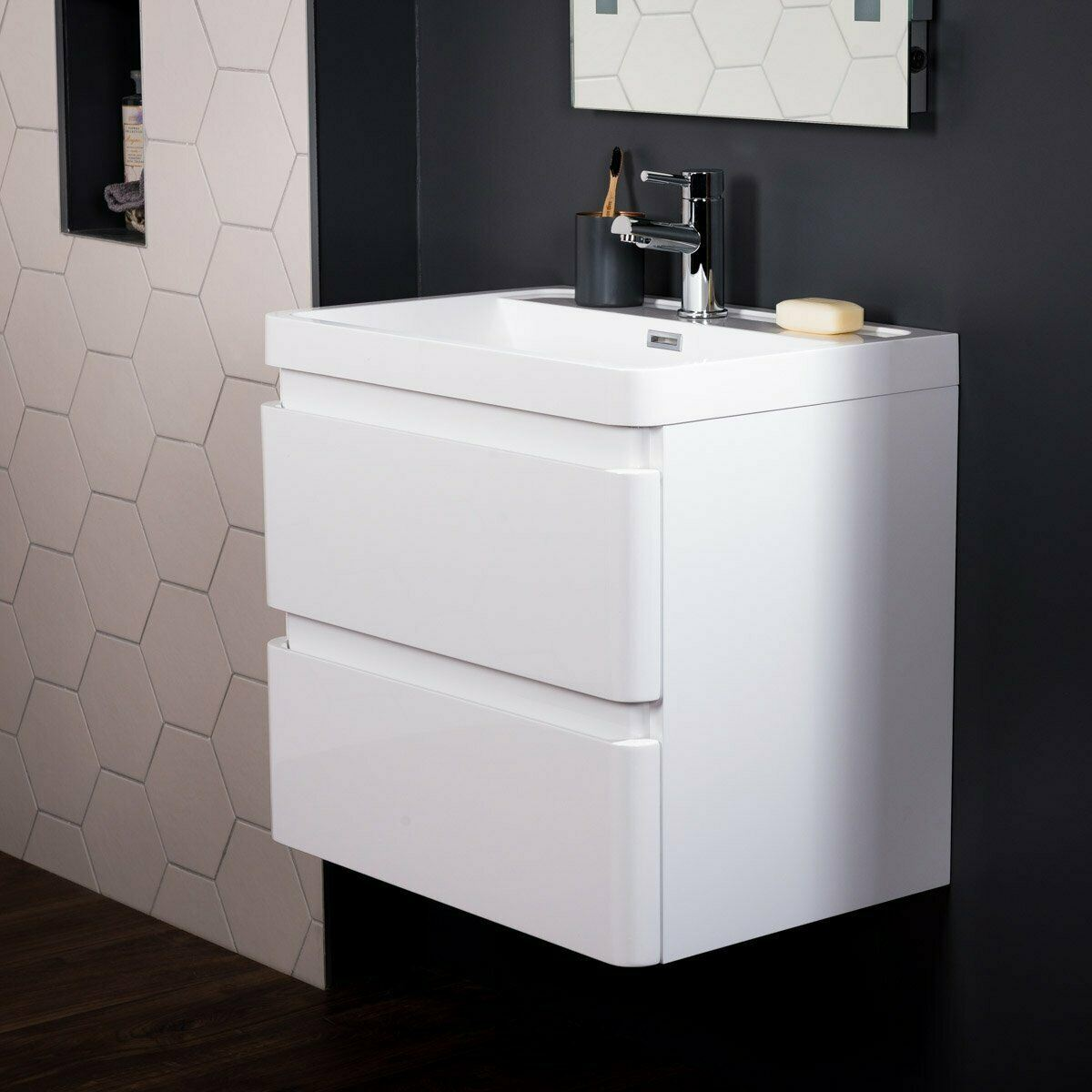 China 600 Mm White Modern Bathroom Wall Hung Vanity Basin Sink Unit 2 Drawers China Bathroom Vanity Unit Bathroom Furniture