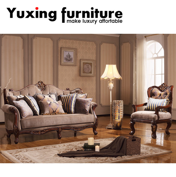 Clical Couch Antique Fabric Sofa Set