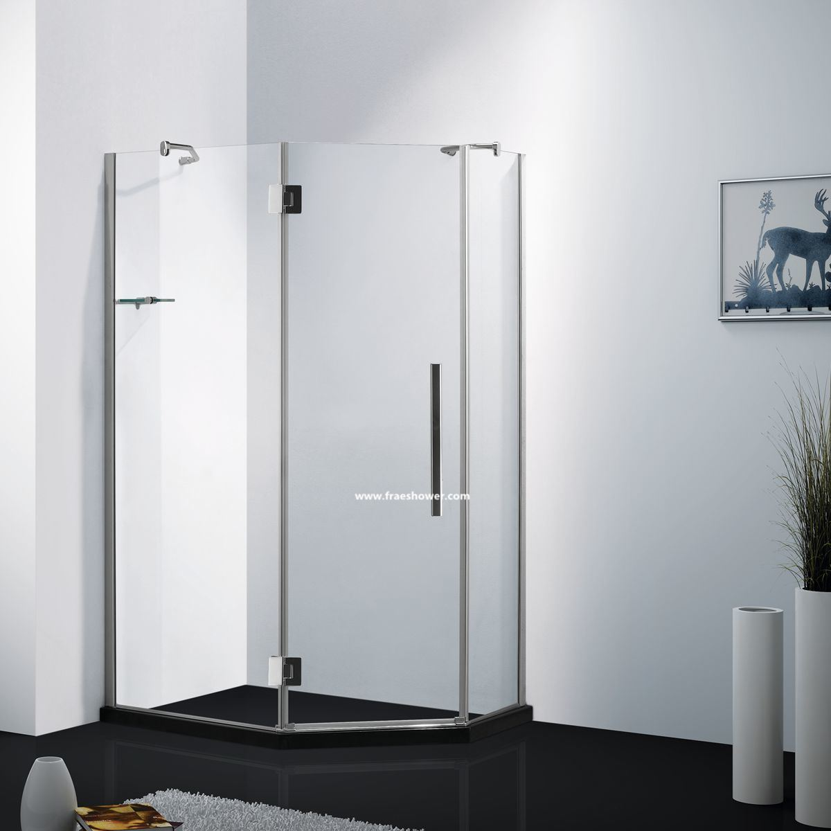 Hot Item 8mm Or 10mm Frameless Luxurious Diamond Shape Corner Shower Door With 135 Degree Big Hinge