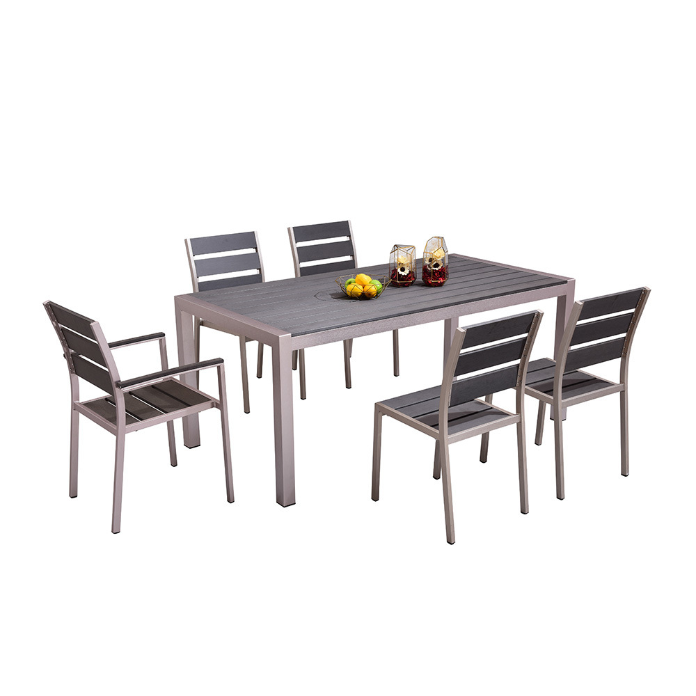 Promotional garden dining furniture plastic wood aluminum table and chair set