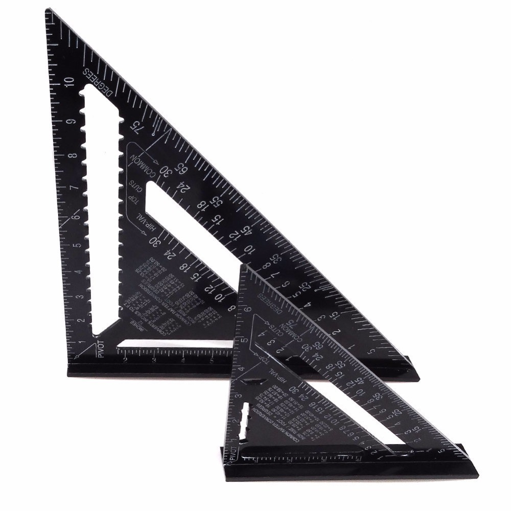12Inch Aluminum Alloy Metric Triangle Ruler Angle Protractor Speed Square Gauge