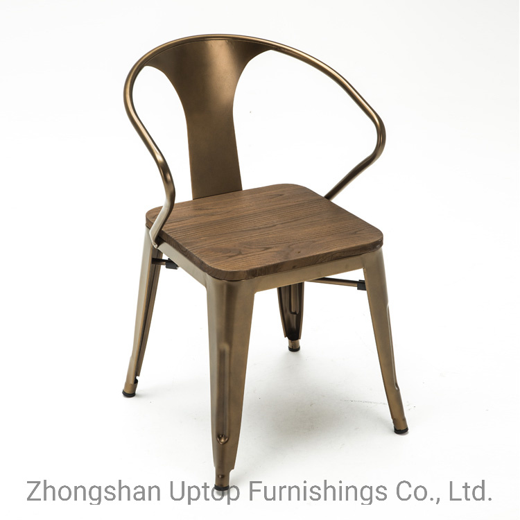 China French Style Vintage Design Armrest Metal Cafe Chairs With Solid Wooden China Metal Dining Chair Metal Chair