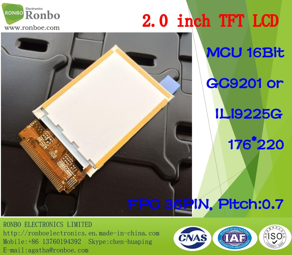 2.0 Inch 176*220 MCU 16bit 36pin TFT LCD Panel, Option Touch Screen pictures & photos