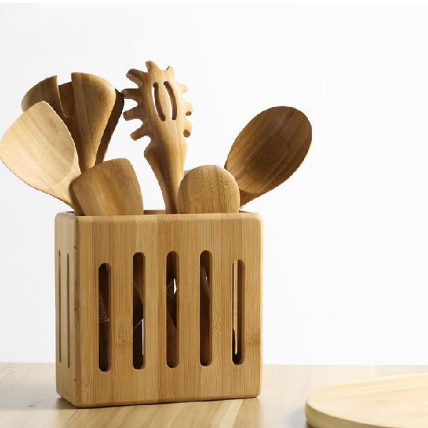 [Hot Item] Bamboo Kitchen Utensil Holder Kitchen Spoon Rack Holder