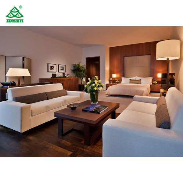 [Hot Item] Modern Mahogany Panel Commercial Hotel Furniture with King Size  Bed