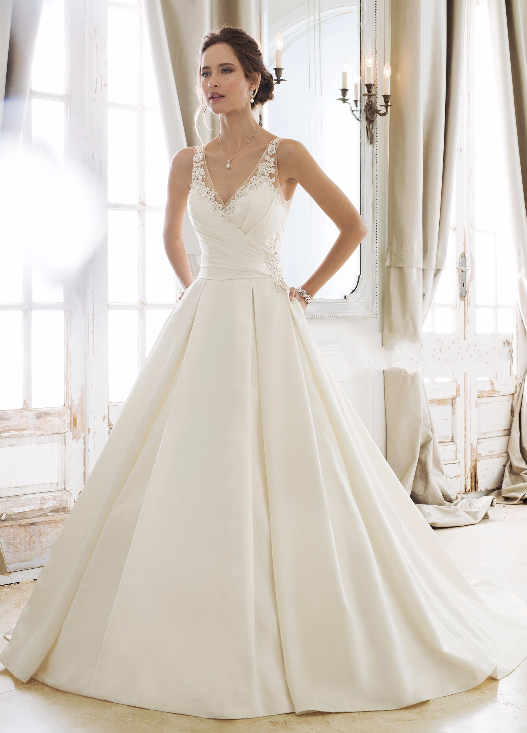 China V-Neck Satin Ball Gown Beaded Pleated Custom 2018 Wedding ...