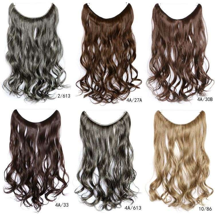 China 15 Colors 18 45cm No Clips Long Wavy Synthetic Hair One