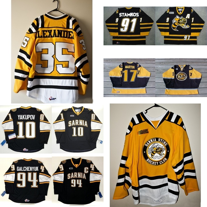 best sneakers a37a3 e2616 [Hot Item] Customize Ohl Sarnia Sting Steven Stamkos Nail Yakupov Hockey  Jerseys