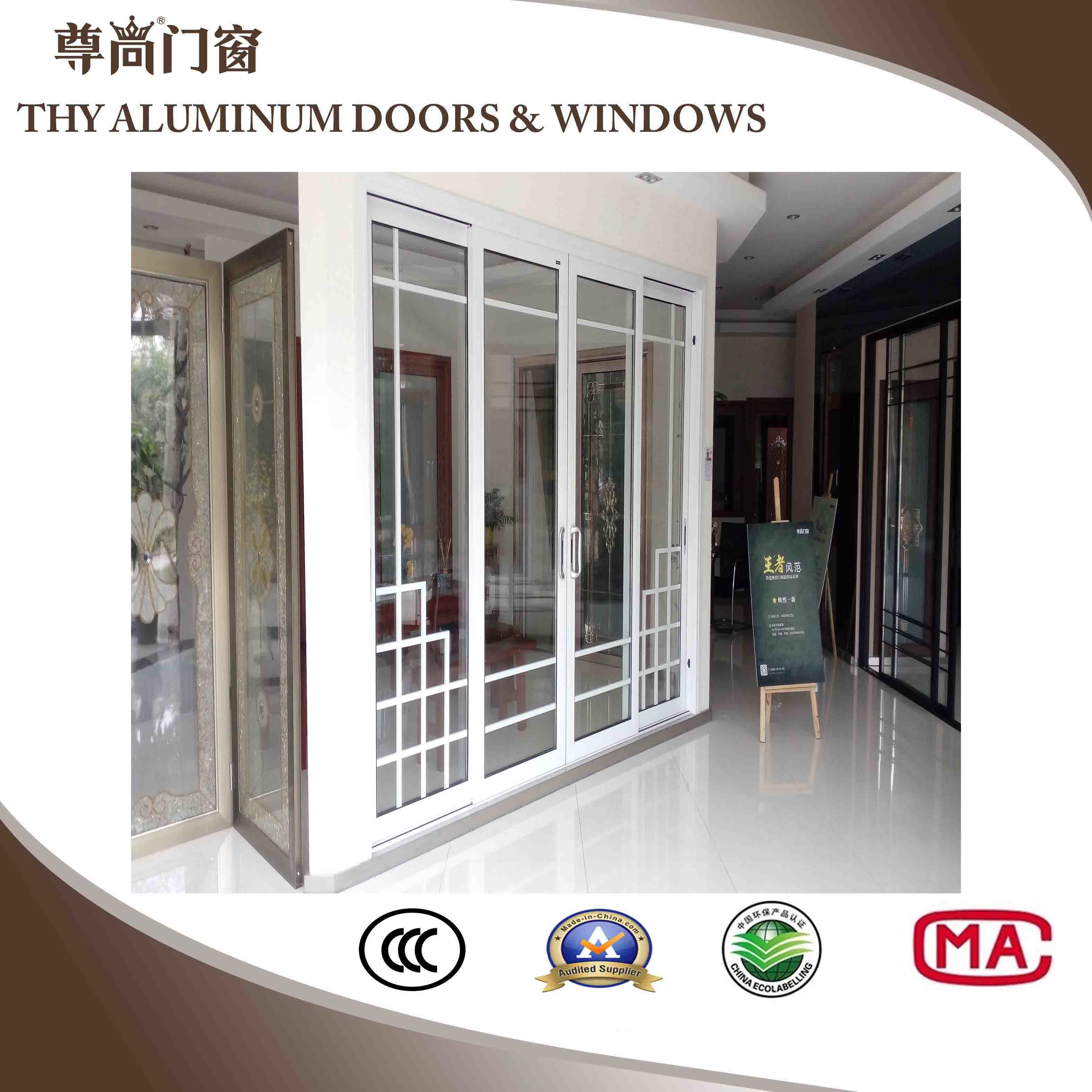 China Aluminum Sliding Doors With 3 Panels Double Layer Glass