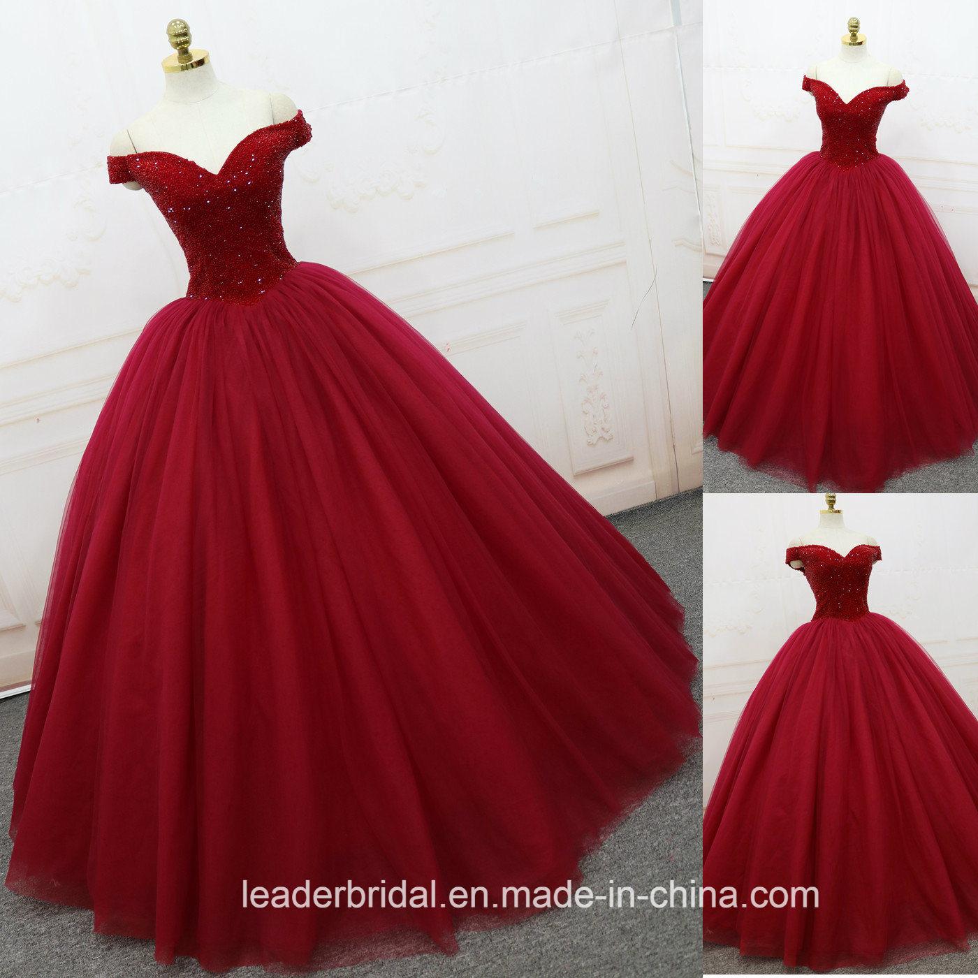 China Red Rhinestones Sweetheart Ball Gowns Luxury