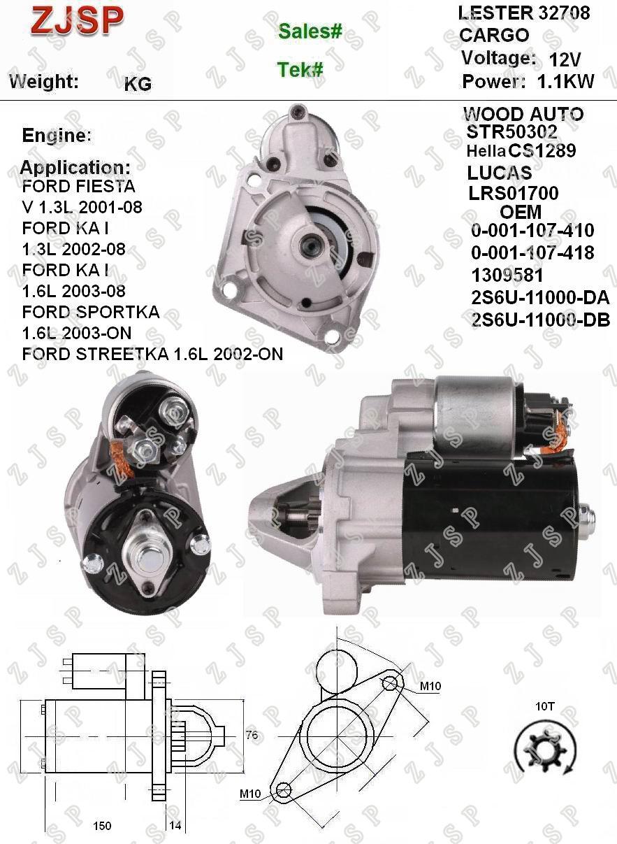 [Hot Item] BOSCH Starter ZJS-B-019 CS1289 LRS01700 0-001-107-410  0-001-107-418 1309581 2S6U-11000-DA 2S6U-11000-dB 32708 STR50302 12V/1 1KW  10 CW