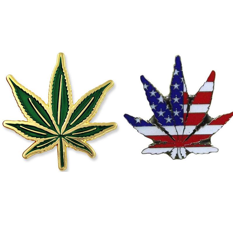 [Hot Item] Cheap Wholesale USA Flag Marijuana Lapel Pin Custom Enamel Lapel  Pins