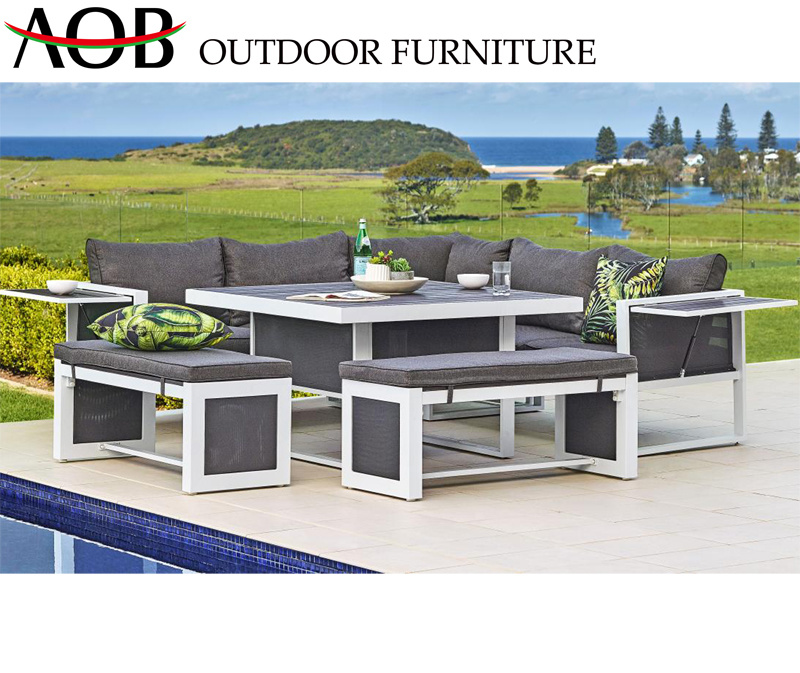 [Hot Item] Wholesale Modern Outdoor Garden Home Hotel Patio Furniture  Aluminium Luxury Lounge Couch Corner Sofa Set