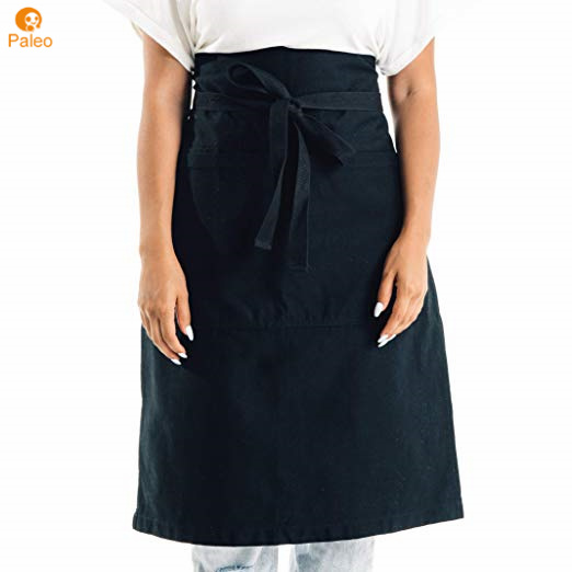 1 new black server apron 3 pocket bistro waist waiter waitress restaurant custom