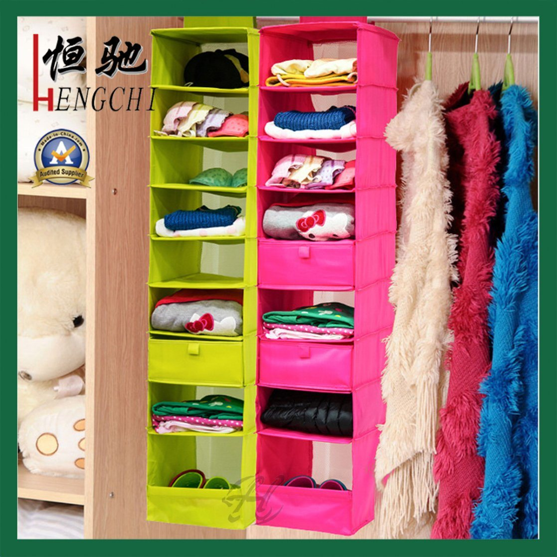 Non Woven Closet Hanging Shoes Apparel Storage Bag Organizer pictures & photos