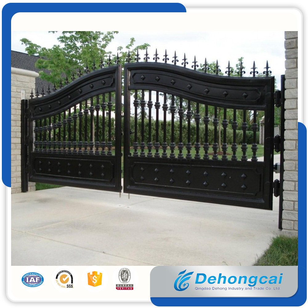 Hot Item Canton Fair Quality Strong And Solid Gate Decorative Wrought Iron Security Driveway Double Gates
