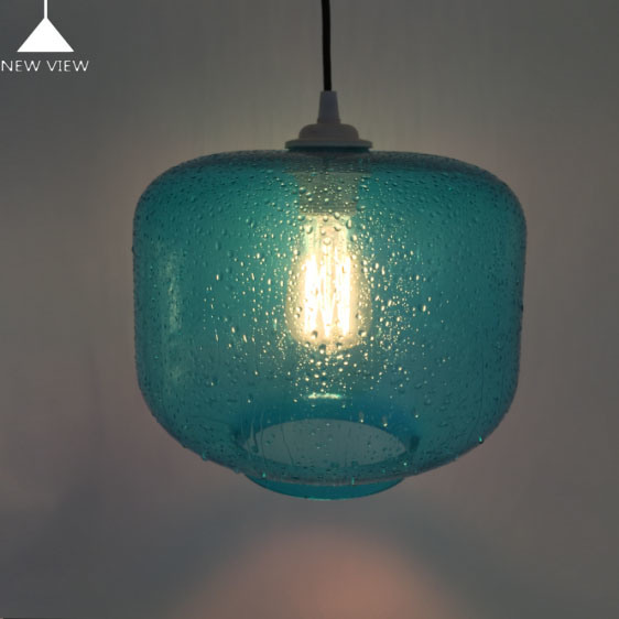 China Chrome Hand Made Color Blown Glass Pained Effect Raindrop Blue Lamp Shade And Cover Hanging Chandelier Pendant