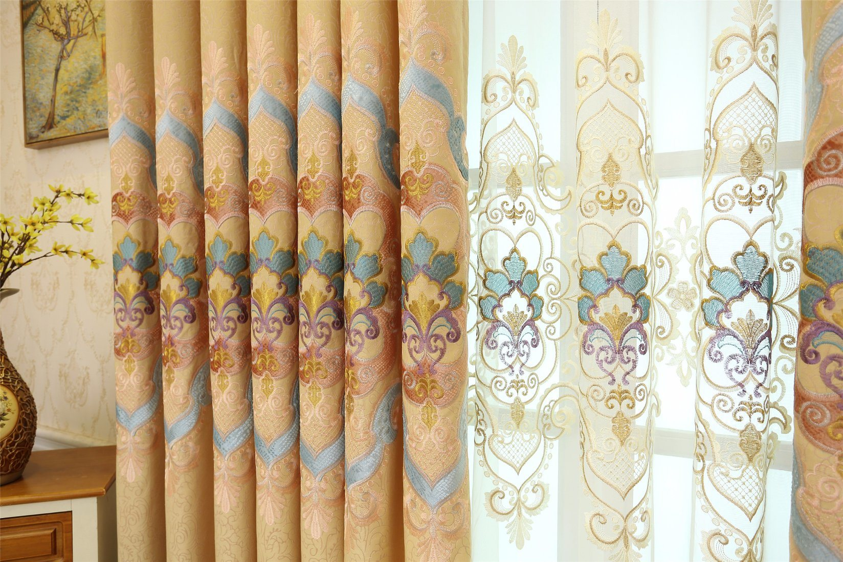 Gold Metallic&Applique Embroidery Curtain (MXC-03)