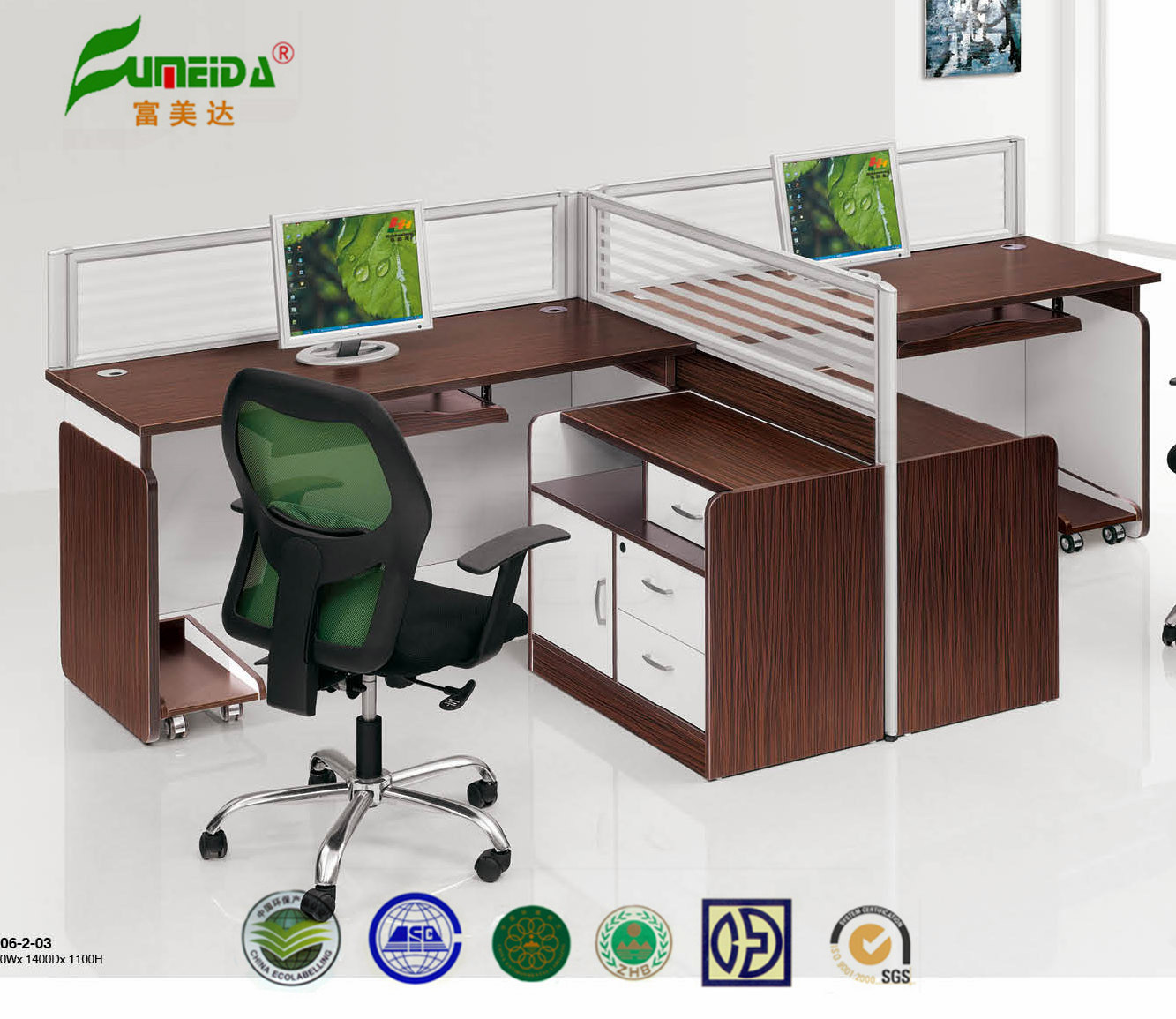 MFC Workstation Glass Screen Office Furniture