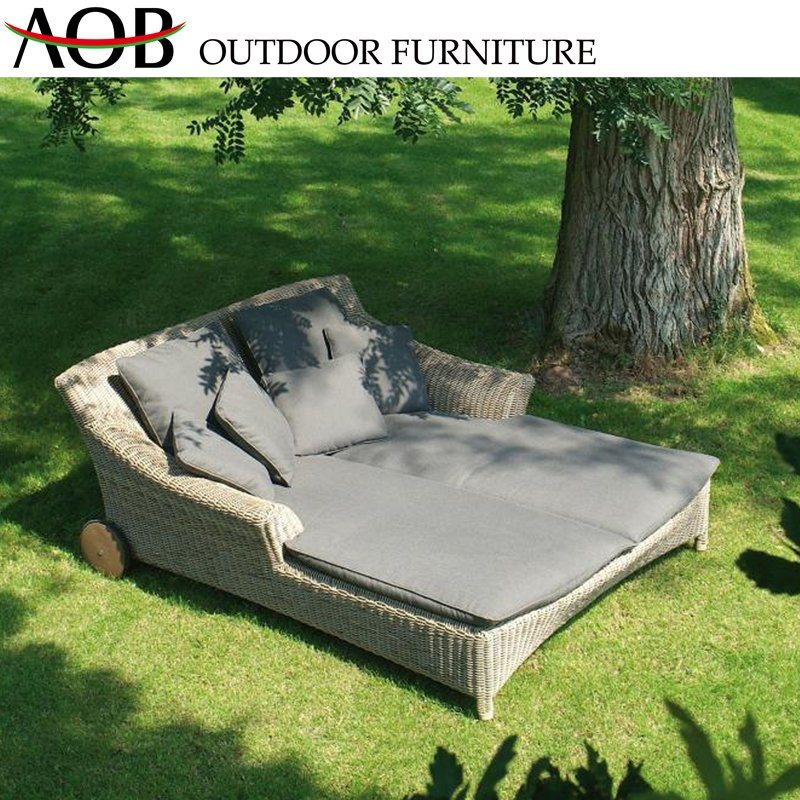 [Hot Item] Outdoor Garden Pool Furniture Rooftop Balcony Rattan Wicker Deck  Chair Lounge Lying Bed Daybed Sunbed