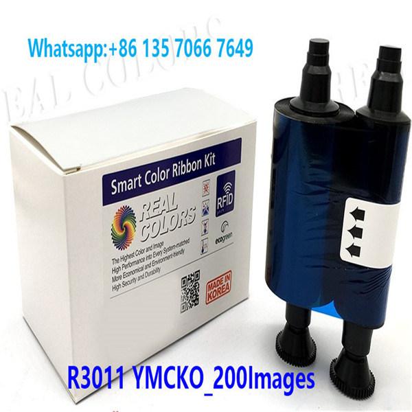 Color Ribbon Evolis R3011 YMCKO 200 Prints for use with Pebble,Pebble 4 Dualys