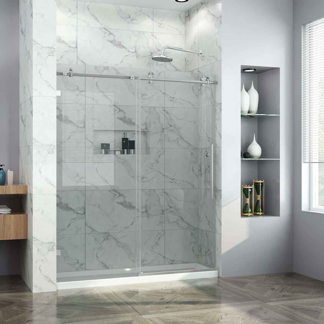 Hot Item Sally Bathrooms Frameless Sliding Door For Shower Enclosure 10mm Thickness Transparent Safety Glass Solid Top Rail Rollers And Double