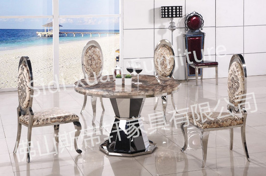 Luxury European Style Metal Round Dining Table White Furniture Marble Wholesale Price