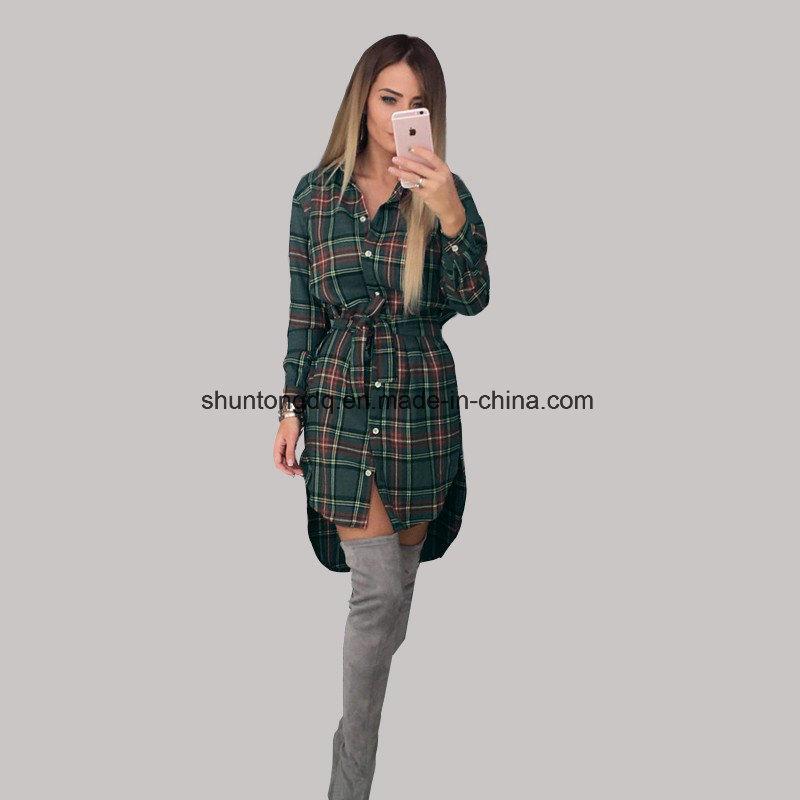 762da6b6430 Women Blouses Long Sleeve Plaid Shirts Turn Down Collar Shirt Casual Tunic  Feminine Irregular Blouses Plus Size Tops
