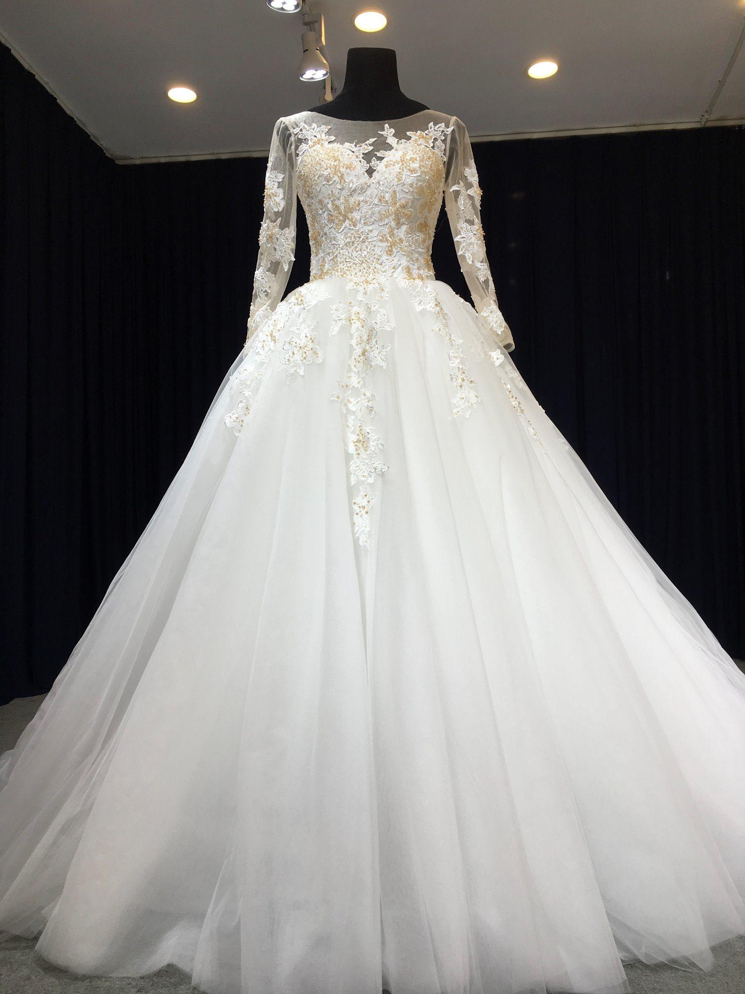 Newest Wedding Dress.Hot Item Aoliweiya Newest Designer Long Sleeve Wedding Dress