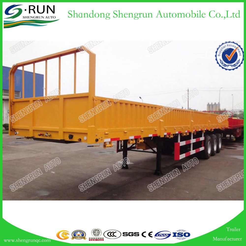 China Shengrun Three Axle Side Wall Flatbed Semi Cargo Box Trailers Manufacture Photos Pictures Made In China Com
