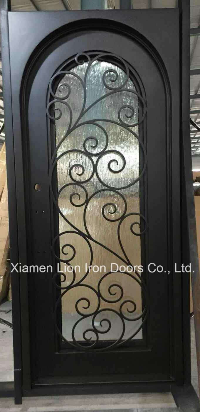 China Best Price Custom Arch Top Cast Iron Front Door Designs Photos