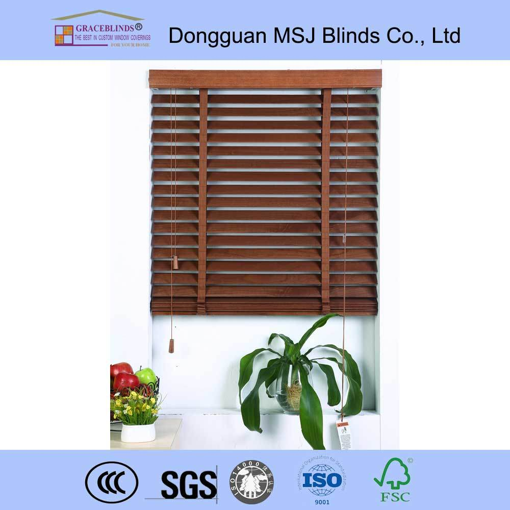 Ladder String Cord Control Metal Headrail Basswood Venetian Blinds