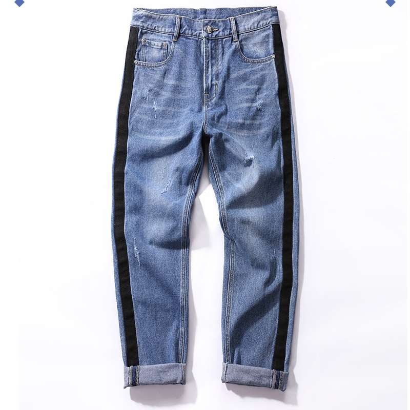 c9dd455a95e [Hot Item] 2019 Fashion Trend Whisker Men Jeans with Side Stripe