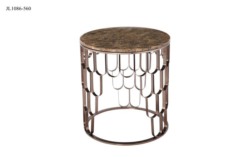 Hot Item Round Living Room Table Stainless Steel Coffee Centre With Metal Frame