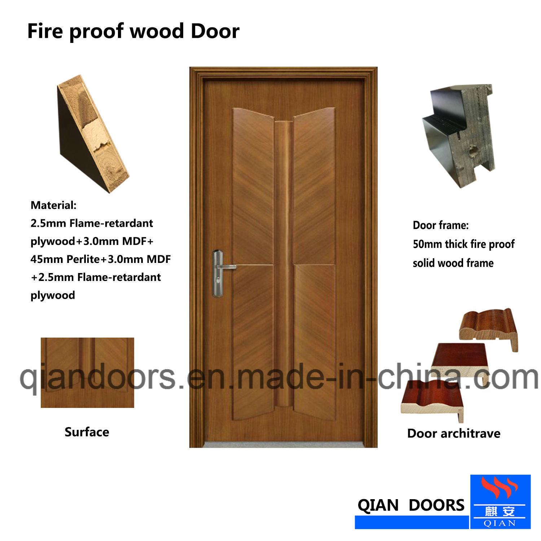 Great Black Walnut Entry Door Interior Wooden Fire Rate Door With BS Certificate