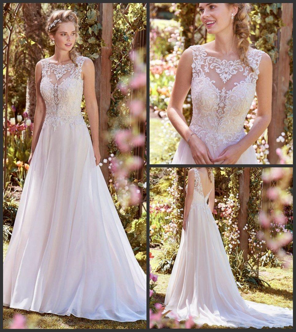 China Sleeveless Bridal Gowns Lace Chiffon Beach Garden Wedding ...