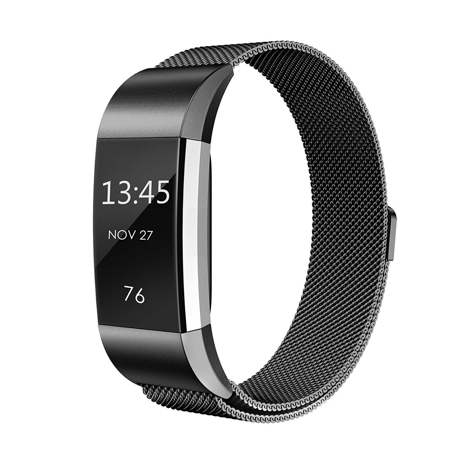 For Fitbit Charge 2 Stainless Steel Magnet Silicone Strap Milanese Wrist Band