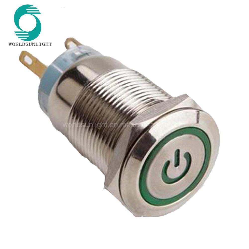 China Ip67 19mm 12 Volt Green Led Light Momentary Power Symbol Ring Push Button Latching Circuit Illuminated Metal Reset Switch
