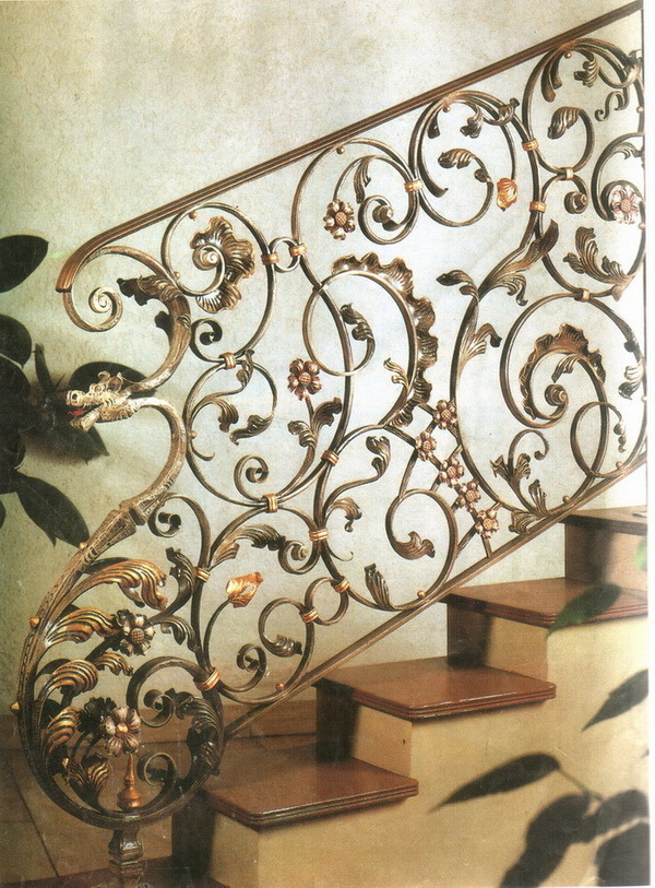 China Stair Railing Flower Design Metal Railing - China ...