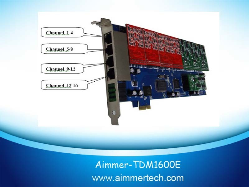 China Tdm1600e Asterisk Card 16 FXO/FXS PCI-E Card Support Dahdi