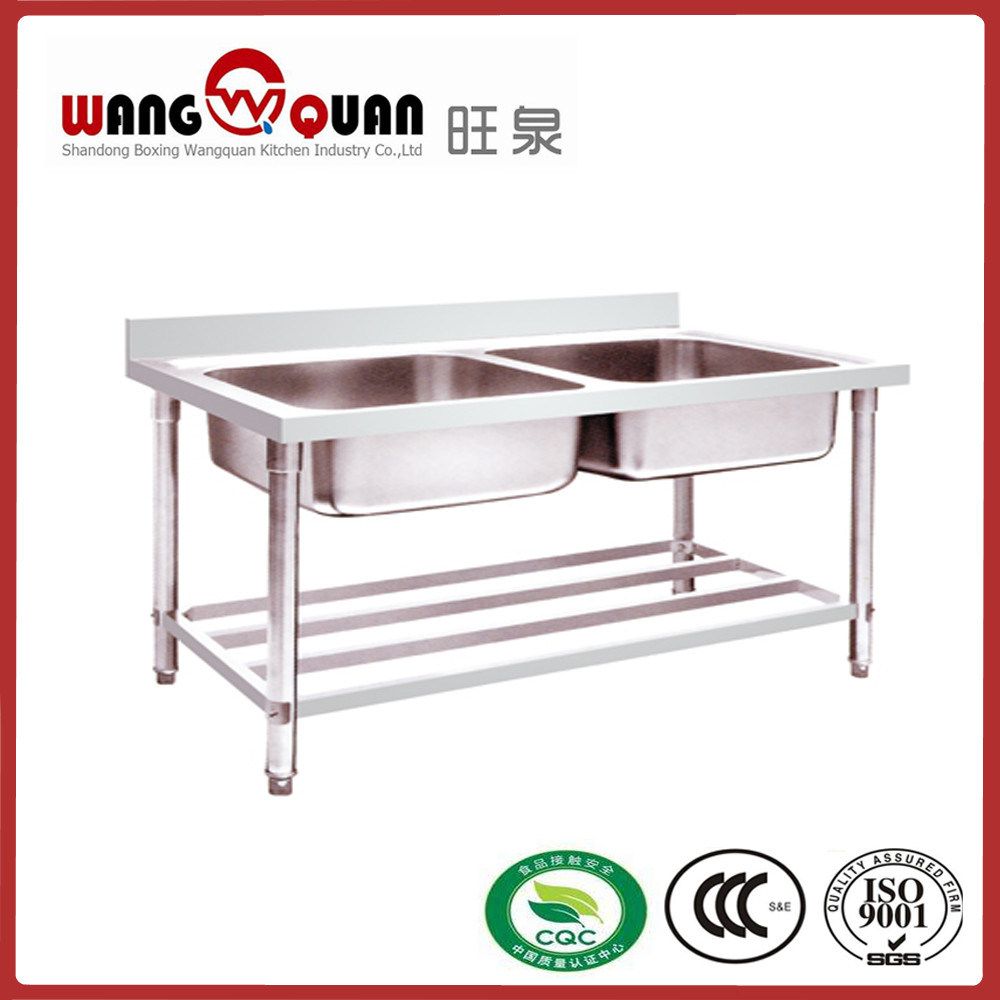 China Manufacturer Stainless Steel Sink with Undershelf and 2 Bowl ...