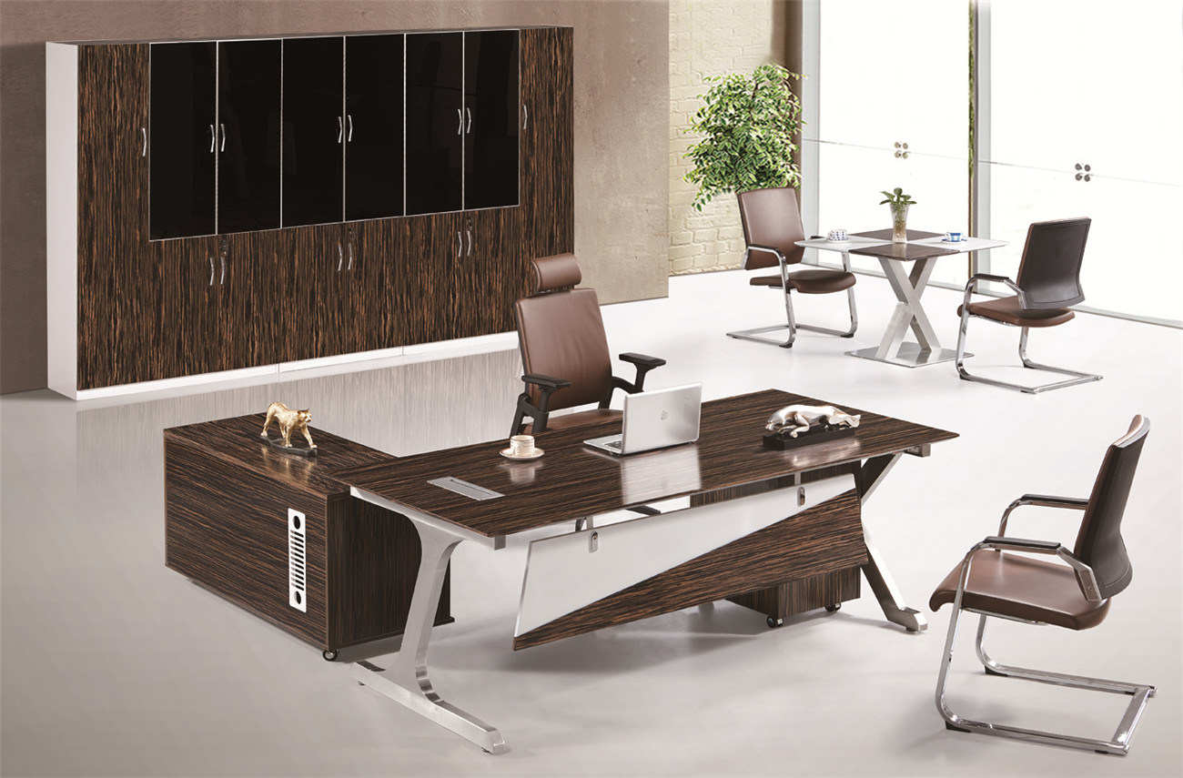 Z shape metal leg modern fashion melamine veneer executive table
