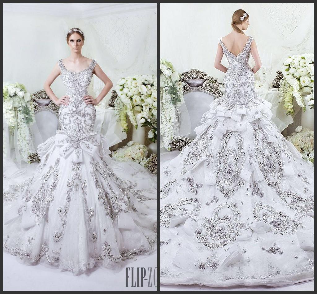 Bodice Wedding Gown: China Illision Bodice Trumpet Bridal Gown Vestidos Silver