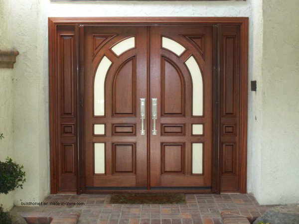 China Curved Top Black Walnut Solid Wood Front Main Entrance Door