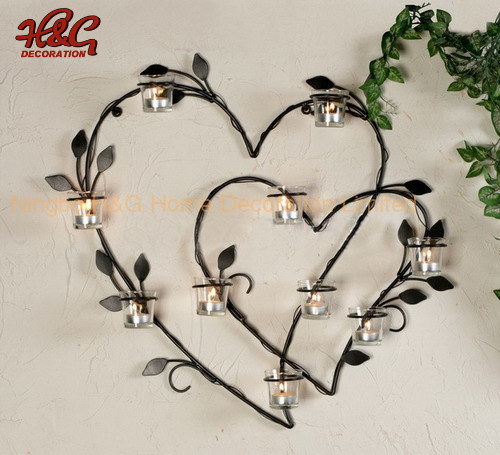 Metal Heart Wall Hanging Candle Holder