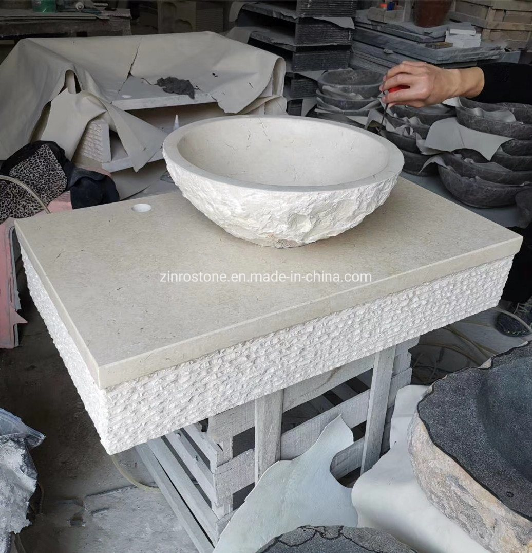 China Natural Beige Marble Granite Basalt Stone Bowls Wash Basin Bathroom Sink For Kitchen Countertop Hotel Bathroom China Marble Basin