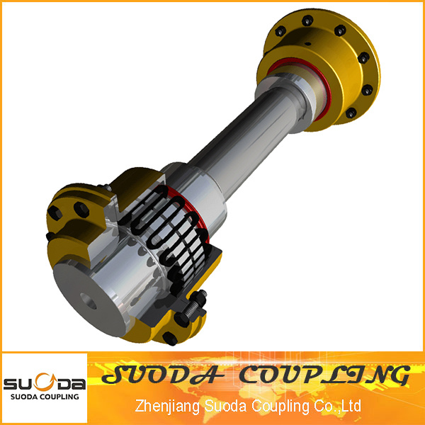 Large Transmission Torque with Intermediate Shaft Flexible Spring Grid Coupling
