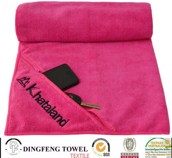 Microfiber Sports Towel with Zipper Pocket