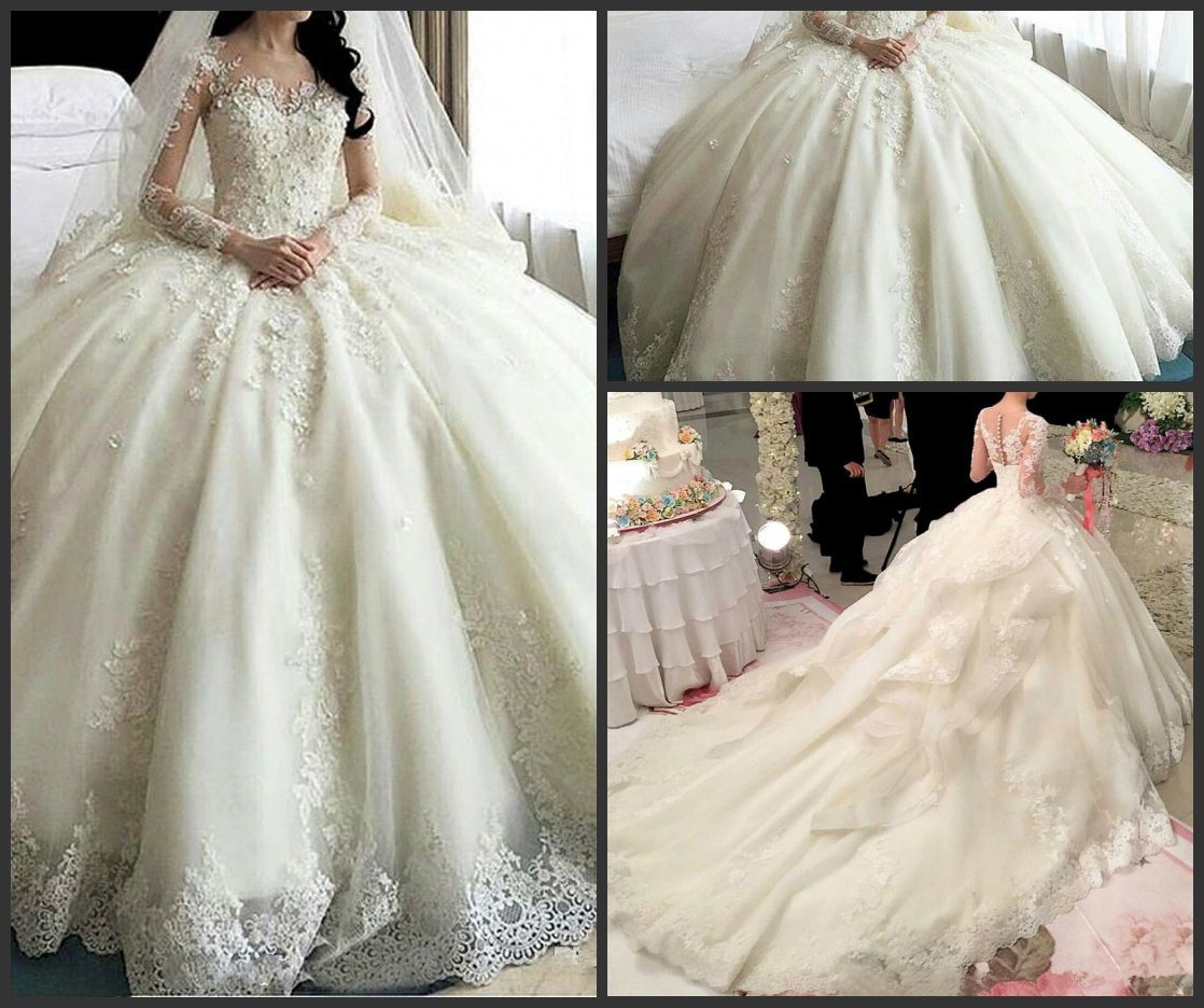 China Lace Bridal Ball Gown Tulle Beaded Puffy Princess Wedding ...